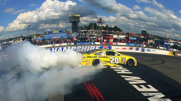 Matt Kenseth said a part broke during this celebratory burnout after his July victory at New Hampshire, causing his car to fail the laser.
